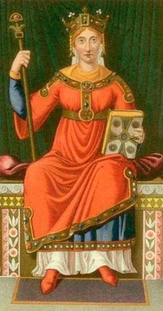 Anne of Rusʹ on the Throne. A miniature from the old French manuscript. XI century. Anna Yaroslavna (circa 1024 - 1089) was a daughter of the Russian Grand Prince Yaroslav the Wise ( circa 978 - 1054) and a spouse of the French King Henry I. #medieval #Russian #history