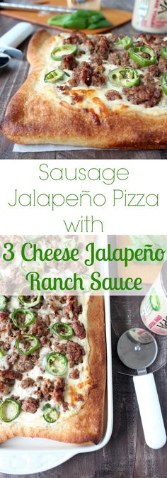 Take pizza night to the next level with this easy pizza recipe that includes homemade 3 Cheese Jalapeño Ranch Sauce, Sausage & Fresh Jalapeños!