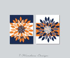 Floral Bursts Bold Stripes Wall Art Prints Set of Modern Flower Decor, Orange Navy Blue, Unframed Modern Art Prints, Wall Art Prints, Diy Canvas Art, Bold Stripes, Diy Art, Design Art, Art Projects, Decoration, Floral