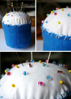 A little birthday cupcake pincushion I made for Darn It & Stitch in Oxford