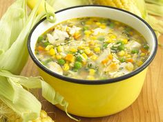 This is the most delicious chicken soup recipe and really good to make when you have left over roast chicken. With chicken, rice and vegetables it makes a meal in itself, and some fussy eaters are much happier eating soup.Not suitable for freezing.