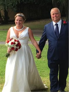"Beautiful bride Heather wore 'Ralea"" by La Sposa on her special day."