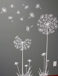 Flowers / Floral Mural / Wall Art / Chalkboard Art Design Inspiration for Spring time Dandelion Art, Dandelion Designs, Dandelion Seeds, Dandelion Drawing, Dandelion Wallpaper, Dandelion Wall Decal, Window Art, Chalkboard Art, Chalkboard Drawings