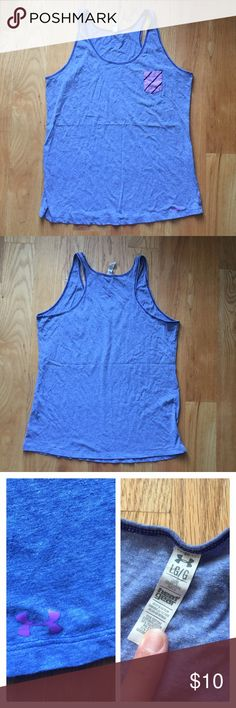 Under Armour Heather Blue Purple Pocket Tank Pretty blue heather tank with a slightly looser fit. Racerback. Has an adorable little purple pocket on the front for a more preppy look! Only worn a few times! Great condition. Feel free to make an offer! Under Armour Tops Tank Tops