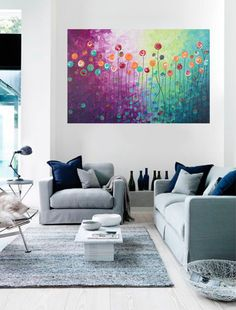 Modern Original Acrylic Abstract landscape Painting by QiQiGallery