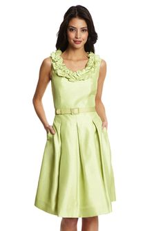 TAHARI ARTHUR S. LEVINE Ruffle Collar Shantung Sleeveless Dress