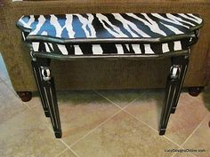 zebra table. get creative when painting. love the details on this piece