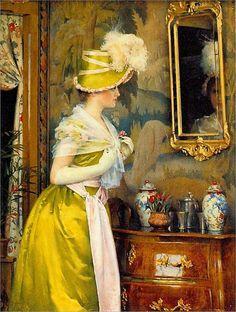 Gunnar Berndtson (Finnish painter) 1854 - 1895, Peilin Ääressä (In Front of the Mirror), 1889,oil on canvas, 27.5 x 20.5 cm., Ateneum Art Museum, Helsinki, Finland