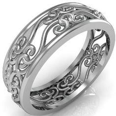 Amazon.com: Women's 14k White Gold Wedding Band Unique Filigree Design 3.8 grams: Jewelry