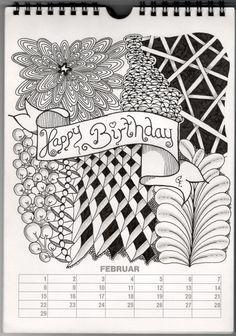 Kalenderblatt Februar - calendar month february - Januar 2015 ZIA -  Geburtstagsmotiv - Birthday Card - Zentangle Patterns: Mumsy, Festune,  Hollibaugh, ...