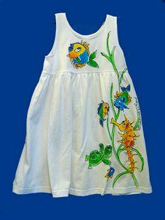 Handpainted Sealife Dress for Toddler by DeborahWillardDesign