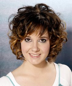 Medium Hairstyles with Bangs for Women Over 40 with Fine Hair | Formal Medium Curly Hairstyle - - 7682 | TheHairStyler.com