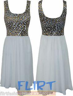 Womens Chiffon Dress Ladies Contrast Gold Animal Print Top Sexy Mini Skirt 8-14