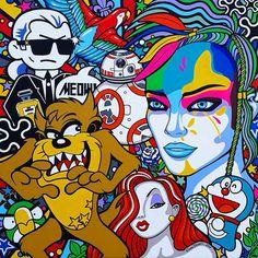 """Oxana Prantl - """"Jungle Queen"""" - Acrylic paint on canvas. 100 x 100 cm. Museum, Pretty Art, Monster High, Joker, Jungle Queen, Fictional Characters, Pop Art, Paint, Canvas"""