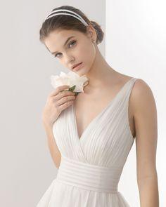 CANTABRIA - Vestido de organza de seda con adorno de vainica, en co... - ROSA CLARA