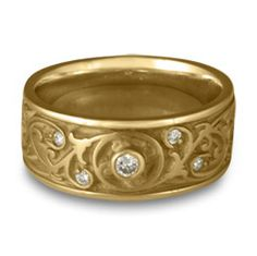 Product Image: Wide Garden Gate Wedding Ring with Diamonds in 14K Yellow Gold