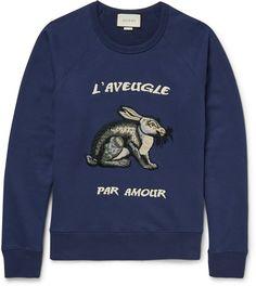 07fe0d97c41 Gucci Embroidered Loopback Cotton-Jersey Sweatshirt Mens Designer Hoodies