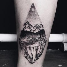 landscape for annalena #landscape #nature #forest #mountains #river #deer #fox #moon #tattoo #tattoodesign #dotwork #dotworktattoo #stippling #blackwork #blacktattoo #themagicsociety #pforzheim (hier: The Magic Society)