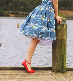 Blue mermaid dress with red ballet flats Red Flats, Red Shoes, Me Too Shoes, Flat Shoes, Modest Outfits, Cute Outfits, Librarian Style, Ankle Strap Heels, Ankle Straps