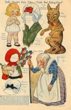 """""""A Helen le recordó a la abuela de Caperucita Roja, igualita que en la ilustración de un viejo tomo de cuentos..."""" Recortable Little Red Riding Hood (Grace Drayton 1910)"""
