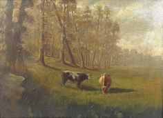 """Untitled pastoral scene with cows, Edward Mitchell Bannister, oil on canvas, 17 x 24.25"""", private collection."""