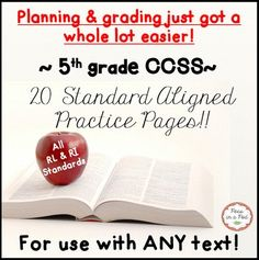 5th Grade CCSS Reading Standards ~  Planning & grading just got a whole lot easier! I have summarized the 5th grade reading standards and created a common core aligned student worksheet to correspond to each!!   Each worksheet is clearly labeled with the corresponding standard.