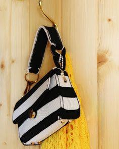uncinetto moda e fantasia: borsa bianca e nera in seta.....
