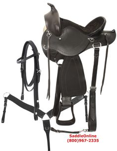 """No more saddle sores! This one is going to keep you riding for hours and hours! The seat is deep and very comfortable and extremely well padded. The saddle features a rounded skirt that is excellent for short backed horses. Basket weave tooling, padded stirrups and numerous latigos give style and class to this saddle. The numerous """"O"""" rings are excellent for all of your accessories. In-skirt rigging and leather cinch straps provide extra security and strength.   ONLY $449.99"""
