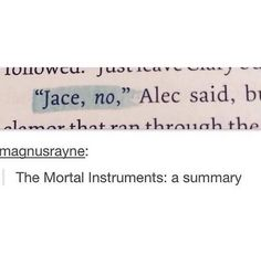 """Jace, no"" - The Mortal Instruments: A Summary"