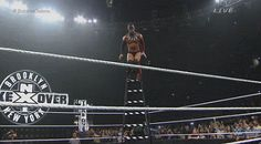 Coup de Grace off of a ladder by Finn Balor onto Kevin Owens.