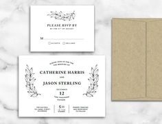 Gorgeous marble wedding invitation template DIY Wedding