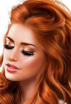 Beautiful Girl Drawing, Redhead Art, Face Art, Art Faces, Fashion Dress Up Games, Funky Art, Digital Art Girl, Airbrush Art, Color Pencil Art