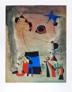Joan Miró - Le Chien Bleu (The Blue Dog) | From a unique collection of prints and multiples at http://www.1stdibs.com/art/prints-works-on-paper/