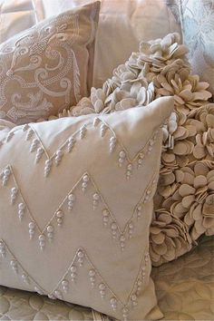 love these pillows About Our Luxury Linens & Fine Gifts Diy Pillows, Decorative Pillows, Cushions, Throw Pillows, Cream Pillows, Accent Pillows, Sewing Projects, Projects To Try, Linens And Lace