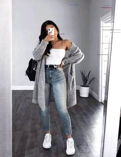 Spring Outfit Women, Trendy Fall Outfits, Cute Comfy Outfits, Winter Outfits Women, Casual Winter Outfits, Winter Fashion Outfits, Simple Outfits, Look Fashion, Outfits For Teens