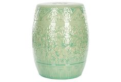 Rowan mint garden stool, love these as side tables. I want one for my guest room.