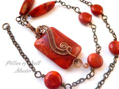 Red Sponge Coral necklace / Wire Wrapped by PillarOfSaltStudio, $45.00