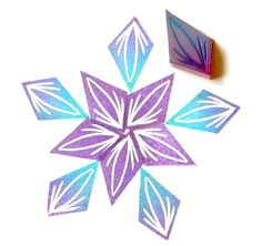 Unmounted rubber stamp diamond petal or leaf hand carved