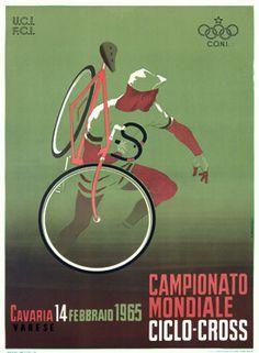 """Olympic Vintage Bicycle Poster of Campionato Mondiale Ciclo-Cross Varese Poster."" I had no idea cyclocross had been around so long. Vintage Italian Posters, Vintage Advertising Posters, Vintage Travel Posters, Vintage Advertisements, French Posters, Poster Vintage, Velo Vintage, Vintage Bicycles, Unique Vintage"