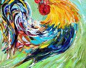 Original oil painting texture ROOSTER palette knife fine art impressionism by Karen Tarlton
