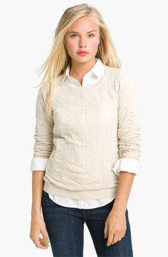 BP. Sheer Cable Knit Sweater (Juniors) available at #Nordstrom