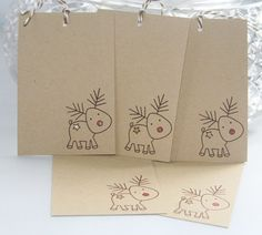 Christmas Gift Tags Reindeer with Red Nose by LaurasPaperCreations, $4.00