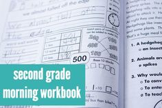2nd Grade Morning Workbook, aligned to the Common Core. 180 pages! 10 page cycles that include a vowel pattern focus, a consonant pattern focus, a vocabulary acquisition word, an original story, and a grammar/usage/mechanics focus, plus lots of math practice with word problems, place value, and more.
