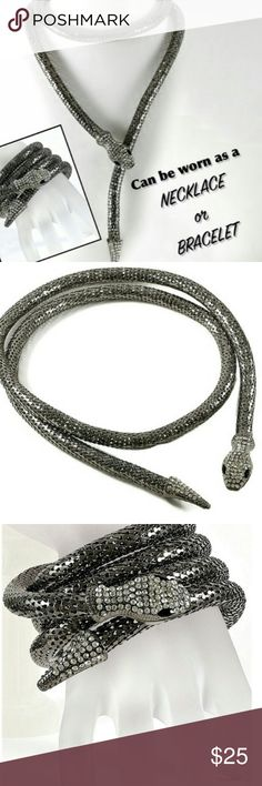 Two in One Unique 36in Snake Necklace/Bracelet Magnet hold on snake head/ Black Rhodium Jewelry