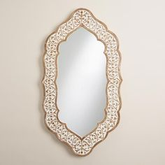 White Oval Avasa Scalloped Mirror