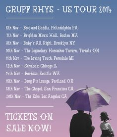 NEWS: The pop singer-songwriter, Gruff Rhys, has announced a North American tour for this upcoming November. He will be hitting the road to support the release of his new record, American Interior, available November 4th. You can check out the dates and details at http://digtb.us/gruffrhystour