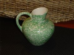 Sold = Vintage Stangl Pottery - Town & Country Green Spongeware Pitcher