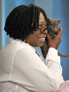 WHOOPI GOLDBERG  When a kitten that survived being thrown from a moving car on New York's Verrazano Bridge visited the show in 2011, he captured The View host's heart. Vinny later moved in with Goldberg and her other cat, Oliver.