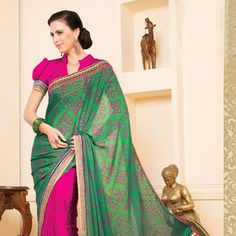 #Green and Magenta Faux #Chiffon and Jacquard Saree With Blouse