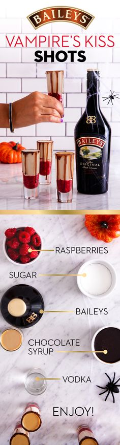 Halloween is approaching and we've got the perfect drink recipe for your party! Trick and treat your friends with these Baileys vampire themed shots. Purée 1 cup raspberries and 2 tablespoons sugar in a blender until smooth. In a shaker with ice, mix 1 oz Halloween Cocktails, Shots Halloween, Halloween Food For Party, Holiday Drinks, Halloween Treats, Holiday Recipes, Halloween Food For Adults, Halloween Chocolate, Halloween Poster
